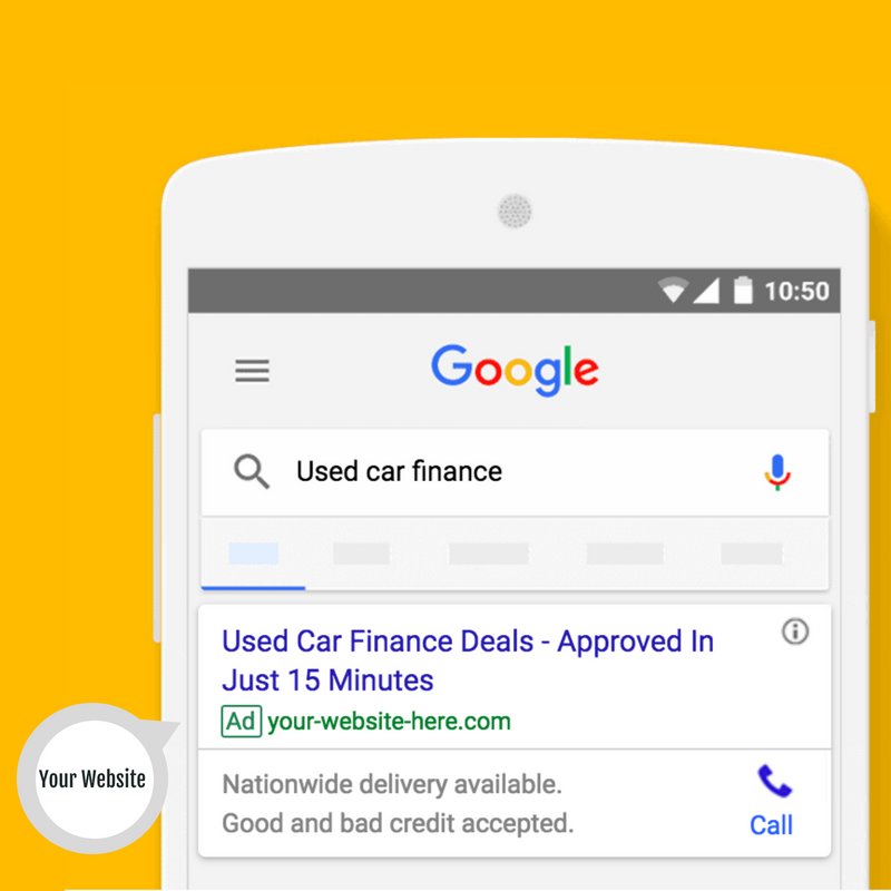 Advertise your used cars and car finance to local buyers on Google