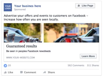 DS used car website visitors direct from Facebook advertising