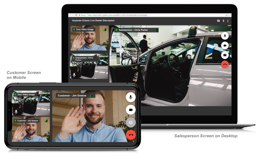 Laptop screen showing an image of a car with the door open.  In front of this image is a smaller image of a mobile phone, showing the same image but small, and the face of the caller on the video call